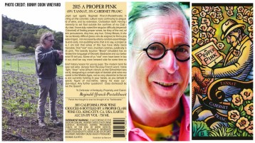 Randall in Grenache vines, Back label of A Proper Pink, Randal, Front label of A Proper Pink