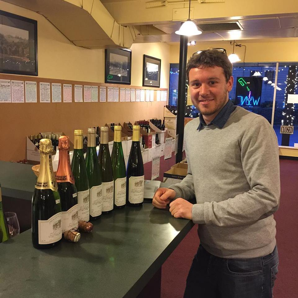Nicolas Laugner with his wines. Credit: Domaine Allimant-Laugner