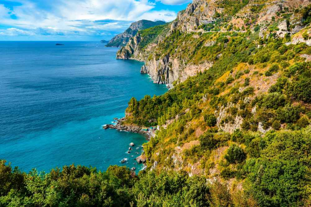 amalfi coast bay beach blue