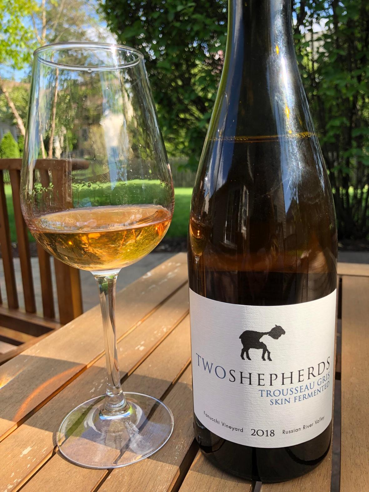 Two Shepherds Trousseau Gris Skin Fermented 2018, orange wine, sonoma wine
